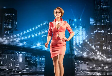 Beautiful businesswoman on the cityscape background Stock Photo - 13194995