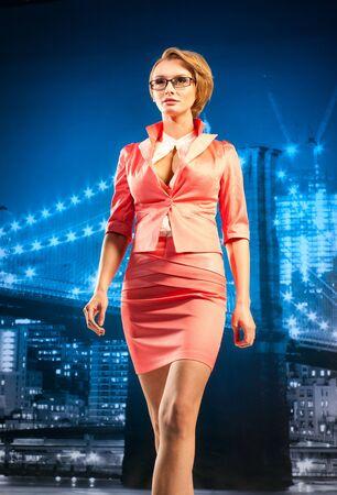 Beautiful businesswoman on the cityscape background Stock Photo - 13195003