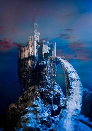 fantasy landscape: Old castle on the hill