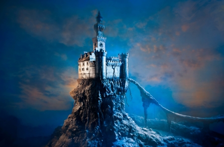 fantasy: Old castle on the hill