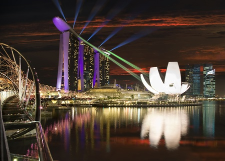 marina life: Beautiful night view of Singapore Editorial