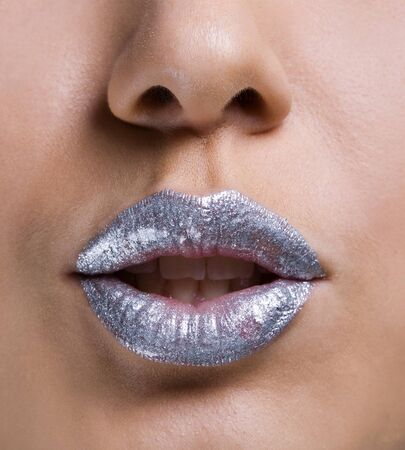 Silver lips of a girl photo