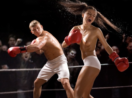 sexy breast: Hot battle between man and woman