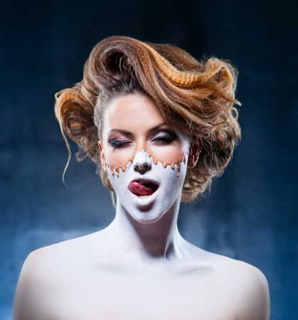 Unusual makeup of beautiful girl Stock Photo