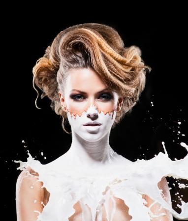 Fantasie make-up van het mooie meisje Stockfoto