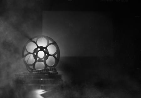 Zwart-witte achtergrond voor filmische thema's Stockfoto