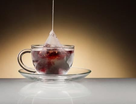 Herbal tea in the glass cup Standard-Bild