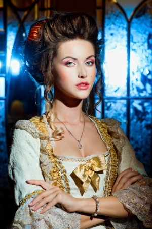 historical periods: Beautiful lady in a ball gown Stock Photo