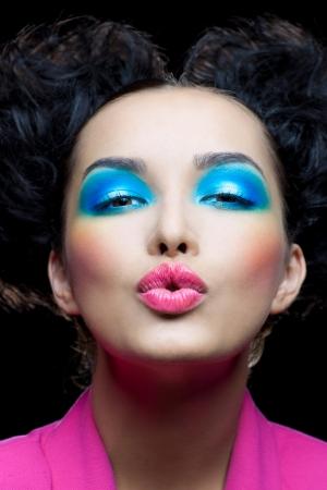 lips kiss: Sweet kiss the pretty girl Stock Photo