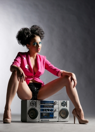 Disco girl with a tape recorder Stock Photo