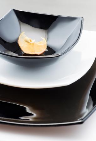 segment: Black plate with segment lemon