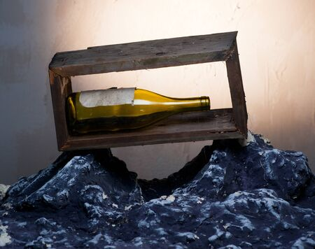 Composition with old wine bottle photo
