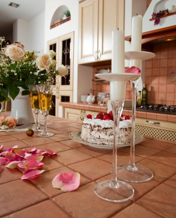 Beautiful kitchen interior with flowers