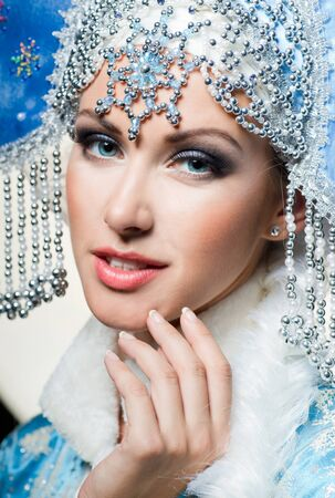 Snow maiden with blue eyes Stock Photo - 16902181
