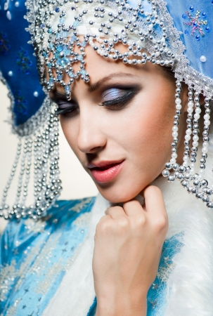 Snow maiden with blue eyes Reklamní fotografie