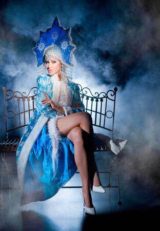 Actress in the role of snow maiden photo