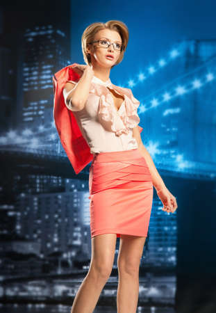 Stylish business woman in night city Stock Photo - 17383547
