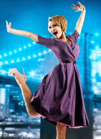 Active girl in a lilac dress Stock Photo - 17383533