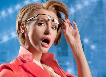 Woman looks in wide-eyed astonishment Stock Photo - 17384773