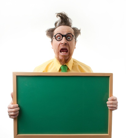 Surprised teacher with the blackboard Stock Photo