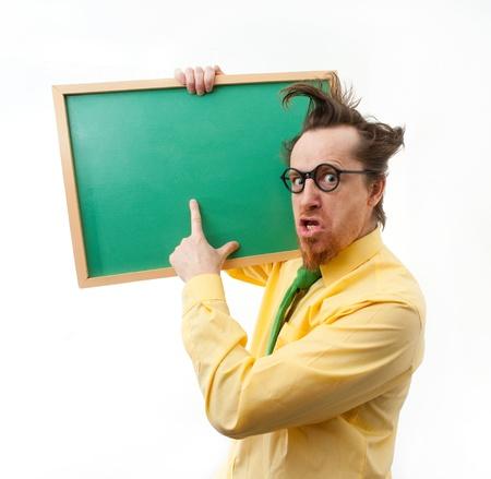 Crazy teacher with the blackboard