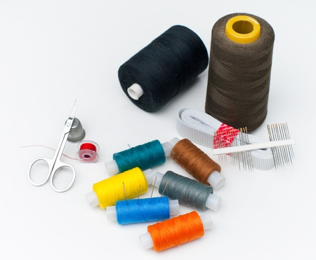 sewing supplies: Sewing supplies on the white background