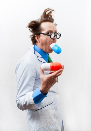 bolus: Crazy doctor in glasses swallow bolus