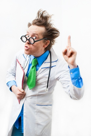 funny doctor: Funny doctor in glasses with notebook