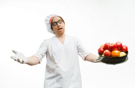 generoso: Chef Generoso con frutas sobre fondo blanco