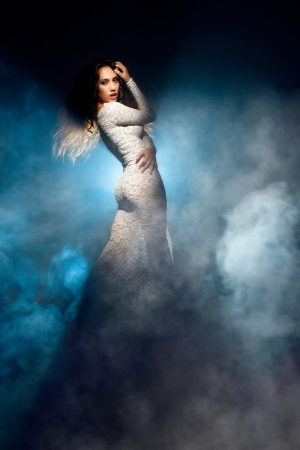 Fantastic girl in white lace dress Stock Photo