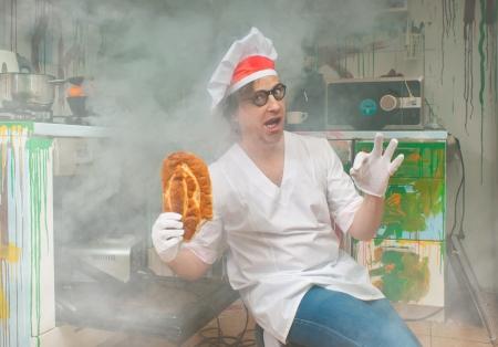 Cheerful baker bakes delicious bread