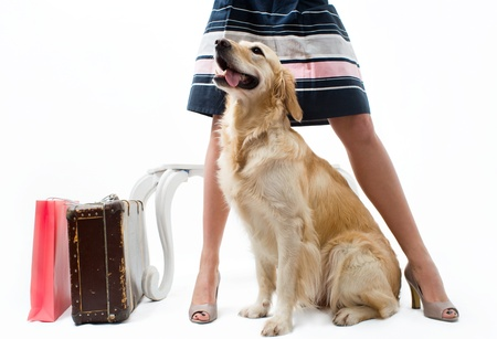 Traveling with dog and a suitcase photo