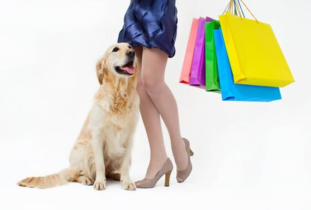 Girl in blue dress with the dog and packages photo