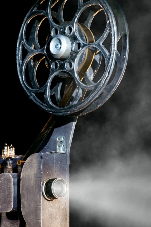 old photograph: Movie projector with the film