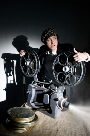 Seus projectionist shows new film Stock Photo - 19264563