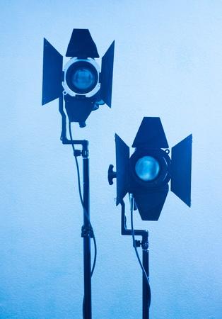 light equipment  in blue tones  photo