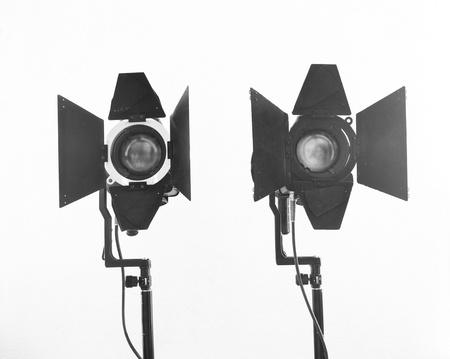 Black-and-white shot of light equipment photo