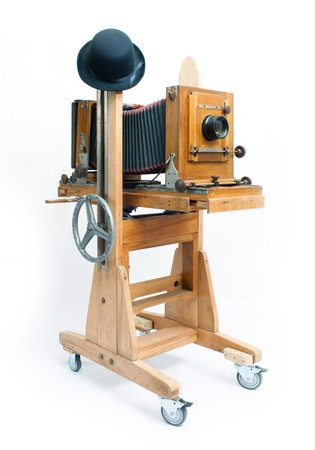 trundle: Retro camera of handmade and hat Stock Photo
