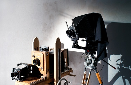 trundle: Background of an old-fashioned photo equipment