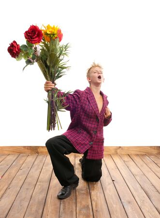 courteous: Cheerful teenager with a bouquet of flowers Stock Photo