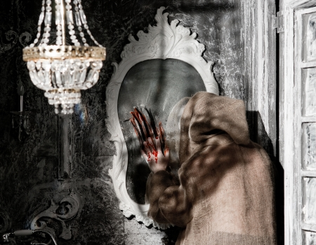Ghost reflection in the old mirror Stock Photo - 22613799