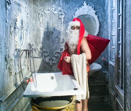 Santa Claus after taking a bath photo