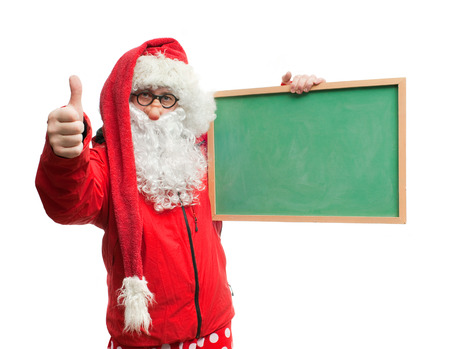 blazer: Funny Santa Claus in a red blazer with a blackboard