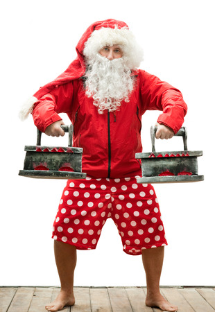 Santa Claus is athlete with the irons photo