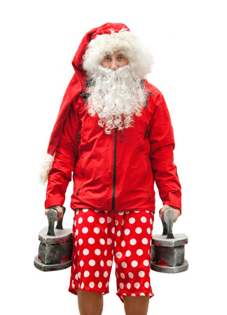 Portrait of tired Santa Claus with the irons photo