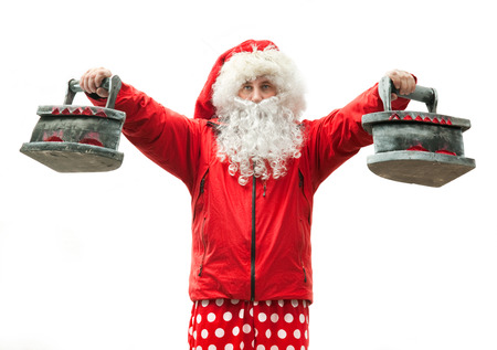 Santa Claus is athlete with the irons