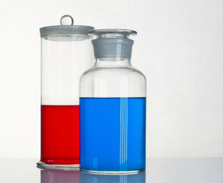 reagents: Two beakers with a reagents are on the table