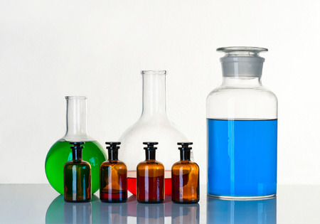 reagents: Vials with a reagents are on the table