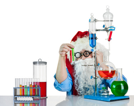 Santa Claus is in the laboratory with flasks