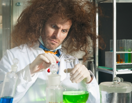 perfumer: Bizarre chemists conduct a scientific experiment in a laboratory